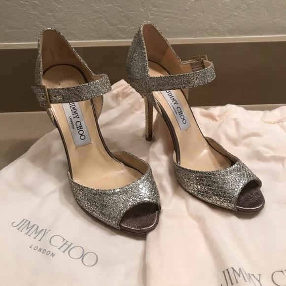 Jimmy Choo Shoes - Jimmy Choo Glitter Peep Toe Ankle Strap size 36.5